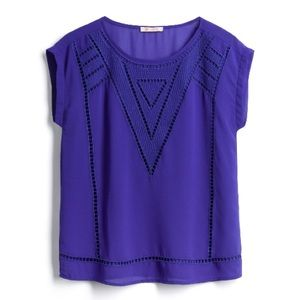 Stitch Fix Royal Blue Crochet Detail Top
